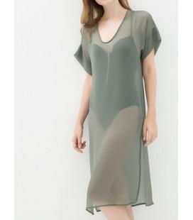 koton Kadın V Yaka Elbise - Haki 6YAK88451GW891