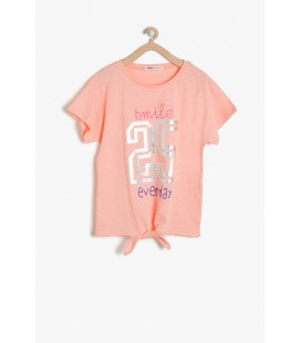 Koton Kız Çocuk Baskılı T-Shirt - Mercan 7YKG17704AK402