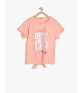 Koton Kız Çocuk Baskılı T-Shirt Mercan 7YKG17704AK402