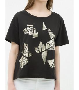Koton Kadın Baskılı T-Shirt Siyah 6YAK13016OK999