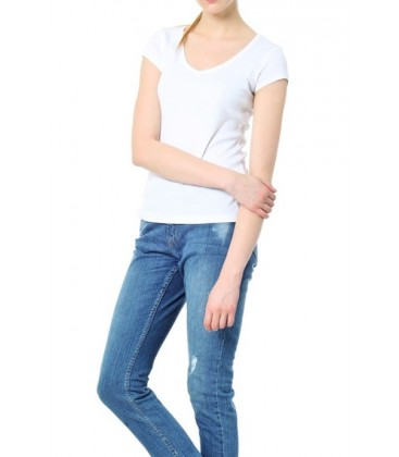 Jimmy Key Kadın Basic Beyaz T-Shirt JK01F1211004