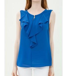 Koton Yaka Detaylı Bluz Saks Mavi 7KAK32156UW665