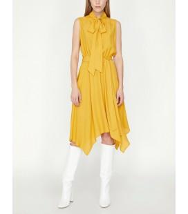 Koton Kadın Yaka Detaylı Elbise Sarı 9YAK88603CW182