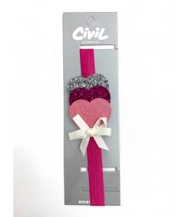Civil Kız Çocuk Kalpli Saç Bandı 219-11