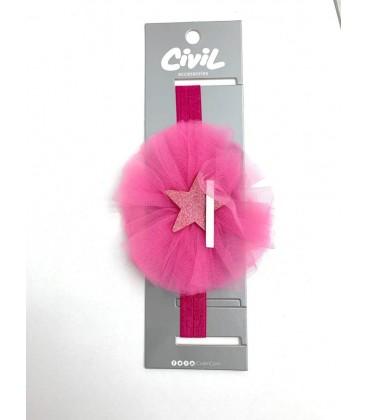 Civil Kız Çocuk Güpürlü Yıldız Fuşya Saç Bandı 219-13