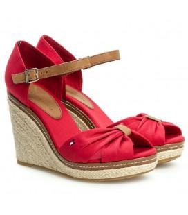 Tommy Hilfiger Kırmızı Kanvas Dolgu Topuklu Sandalet