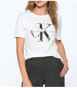 Calvin Klein Kadın Baskılı Beyaz Tişört ZW0ZW01192