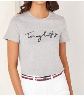 Tommy Hilfiger Kadın Gri Nolimitt Neck Logo Tshirt WW0WW24967