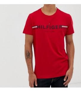 Tommy Hilfiger Simge Şerit Göğüs Logolu Kırmızı Erkek Tişört
