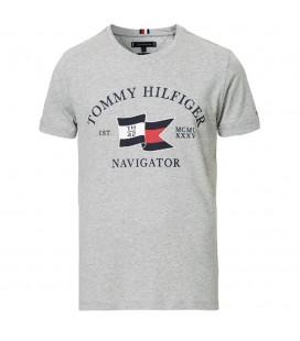 Tommy Hilfiger Organic Cotton Logo Detaylı Erkek Gri Tişört MW0MW13349P92