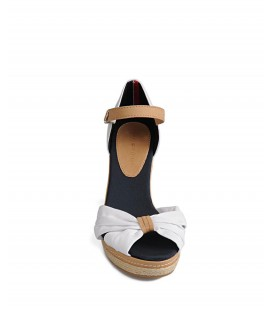 Tommy Hilfiger Beyaz Kanvas Dolgu Topuklu Sandalet