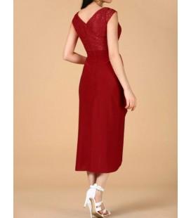 Sherri Kadın Üst Dantel Kırmızı Elbise ELB000801040