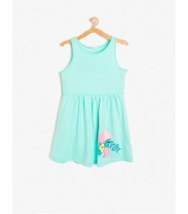 Koton Kız Çocuk Desenli Elbise Nane Yeşili 8YKG87792OK660