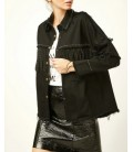 Happiness İst. Kadın Siyah Droplu Püsküllü Kot Ceket ES00034