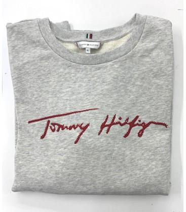 Tommy Hilfiger Kadın Taş Detaylı Gri Sweatshirt WW0WW28365