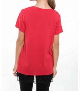 Defacto Kadın Dantel Detaylı Baskılı T-shirt J6983AZ