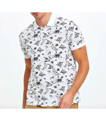 Defacto Erkek Beyaz Desenli Slim Fit Polo T-Shirt N6726AZ