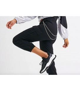 Quzu Kargo Cepli Zincir Detaylı Pantolon Siyah 19Y70505