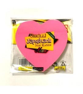 Kalp Şekilli Neon Yapışkanlı Not Kağıdı 100 Yaprak