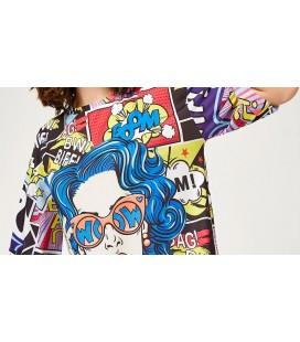 Happiness İst. Kadın Mavi Grafik Desenli Örme Tshirt DD00612