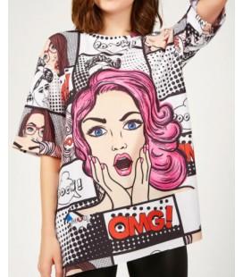 Happiness İst. Kadın Mor Grafik Desenli Örme Tshirt DD00612