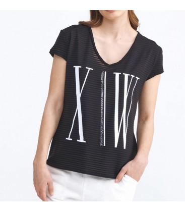 Xint Bayan Rahat Kesim Pamuklu Baskılı Siyah Renk Tişört 601791