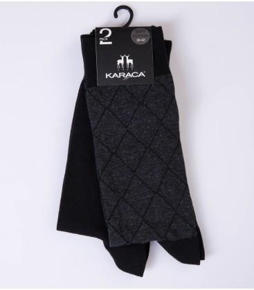 Çift Geyik Karaca Karaca Erkek 2 li Soket Çorap - Siyah & Antrasit 117311018