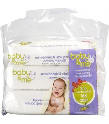 Baby&Me Nemlendirici 3'lü Paket 168 Yaprak Islak Mendil
