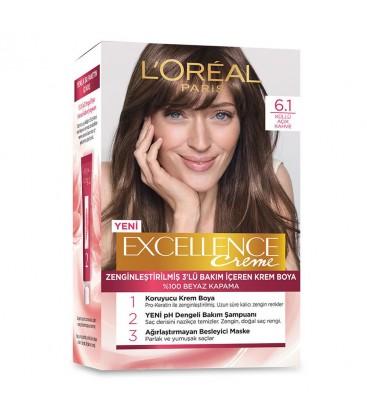 Loreal Excellence Creme Saç Boyası 61 Küllü Açık Kahve