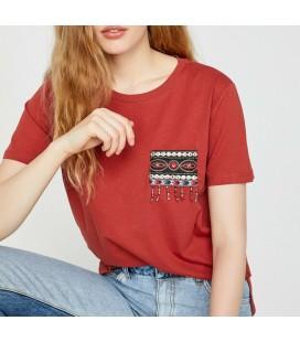Koton Kadın İşlemeli T-Shirt - Terracotta 8YAK13683QK996