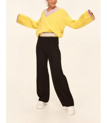Trendyolmilla  Yeni Siyah Bol Paça Triko Pantolon TCLAW19ZA0033