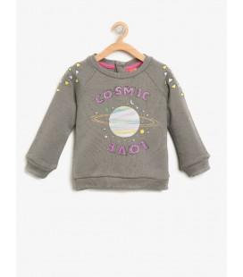 Koton Kız Çocuk Baskılı Sweatshirt  Antrasit 8KMG19631OK045