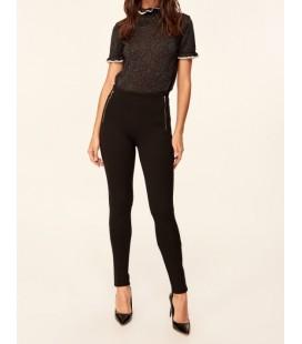 Trendyolmilla  Straight-Leg Pants Siyah Fermuar Detaylı Örme Pantolon TCLAW19VG0062