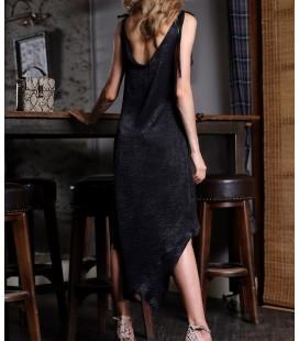 İroni Kadın Siyah Katlı Volanlı Saten Mini Elbise 5211-1262