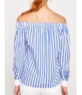 Koton Kadın Omzu Açık Gömlek Mavi Çizgili 7YAK63343QW01J