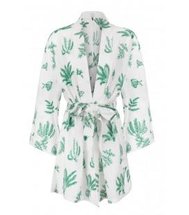 İpekyol Kadın Beyaz Yeşil Baskılı Kimono IS1170005066