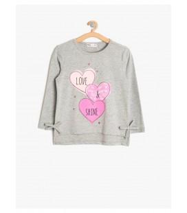 Koton Kız Çocuk Gri Tişört 8KKG17167AK023