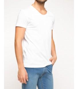 Defacto Erkek Beyaz Basic V Yaka T-shirt G5715AZ