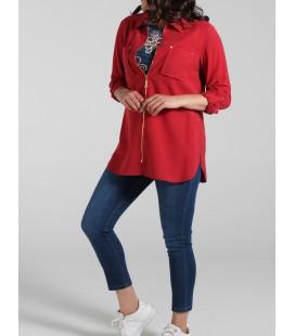 Ekol Kırmızı Kadın Fermuarlı Cep Detaylı Ceket 18Y.Ekl.Tnk.01928.1
