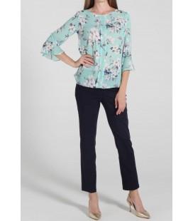 Ekol Kadın Mint Çiçek Desenli Volanlı Kol Bluz 18Y.Ekl.Blz.01180.1