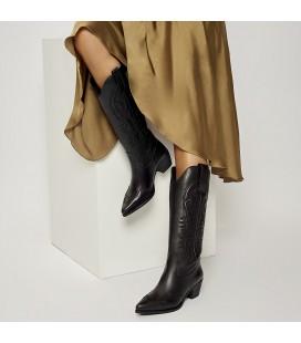 Desa Halag Kadın Deri Kovboy Siyah Çizme A-ETR9670