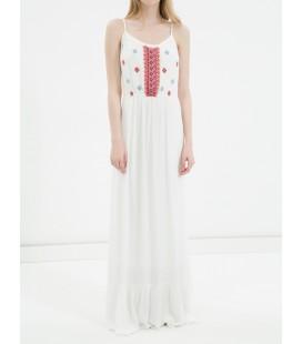 Koton İşlemeli Kolsuz, Rahat Kesim Elbise