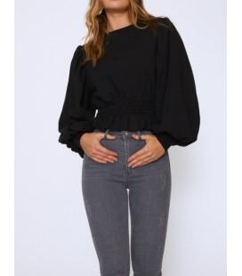 Quzu Kadın Beli Gipeli Balon Kol Sweatshirt Siyah 20Y1743
