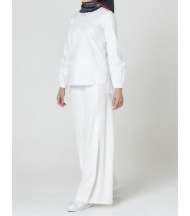 Armine Pile Detaylı Pantolon Beyaz 9Y2718