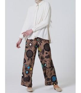 Armine Çiçek Desenli Pantolon Etek Haki 9Y2701