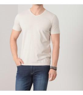 Ramsey Erkek Bej Düz Örme T-Shirt