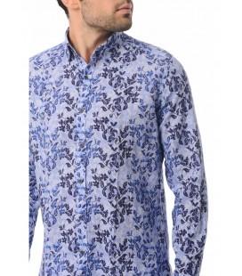 Hatemoğlu  Erkek Gömlek 18D190000465 Baskılı Slim Fit Mavi