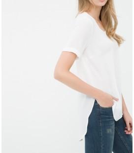 Koton Kısa Kollu, Beyaz Düz Bluz