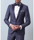 Ramsey Lacivert Renk Siyah Yaka Desenli Dokuma Smokin Takım Elbise