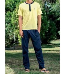 Yeni İnci Epj716 Erkek Viskon Üçlü Kısa Kol Pijama Takım